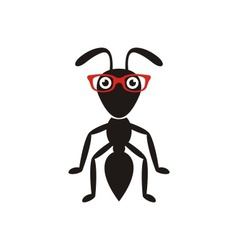 Black ant with glasses vector
