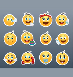 Cute kids smilies vector