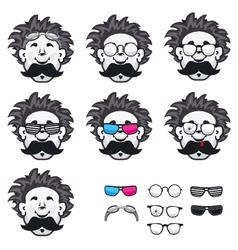 Professor with a lot of glasses vector