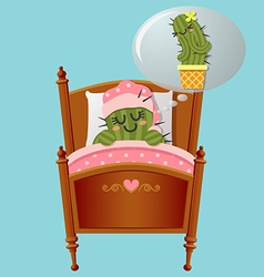 Sleeping cactus dreaming about lover vector