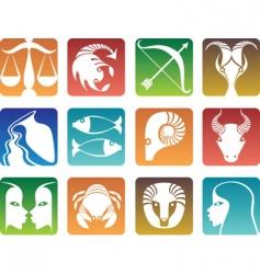 Zodiac sign silhouettes vector