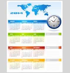 2014 colourful corporate global office calendar vector