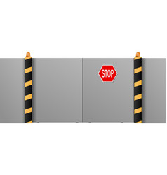 Metal gate with a stop on a white background vector