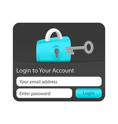 Login to your account form for websites and vector
