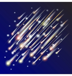 Abstract background of night sky with comets vector
