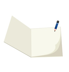 A pencil lying on a blank sketchbook vector