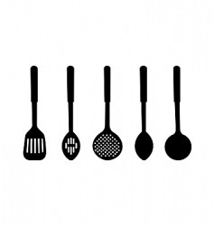 Silhouette of kitchen ware vector