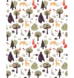 Pattern with animals and trees vector