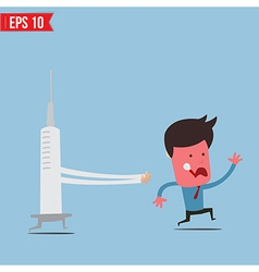 Cartoon syringe run chase patient - - eps10 vector