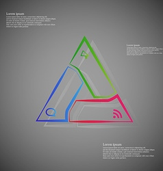Triangle infographic from outlines on dark vector