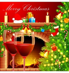 Christmas decoration with wine glass vector