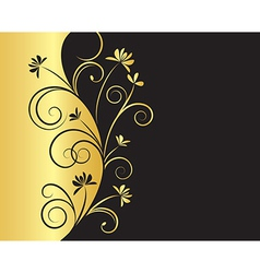 Floral background in black and gold colors vector