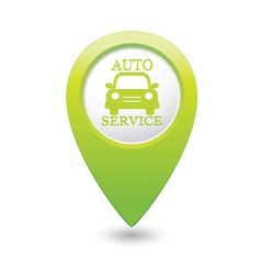 Auto service icon on green pointer vector