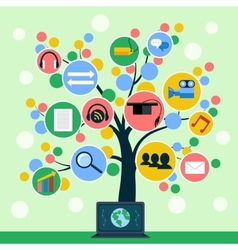 Internet application icons tree concept vector