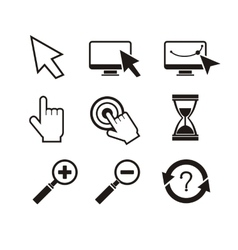 Set of mouse cursors hand cursor hourglass vector