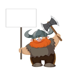 Viking with blank sign vector