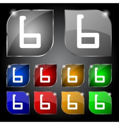 Number six icon sign set of coloured buttons vector