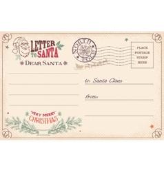 Vintage letter to santa claus postcard vector