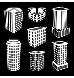 3d office buildings icons vector