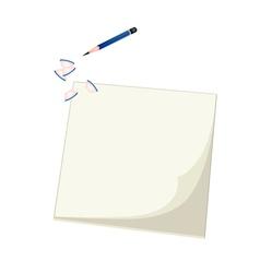 A blue pencil lying on blank sketchbook vector