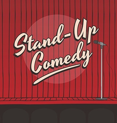 Stand up comedy live stage red curtain vector