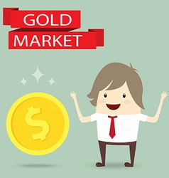 Businessman is happy strategy gold marketing vector