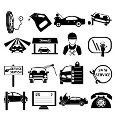 Auto service center icons set vector