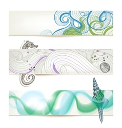 Sea and beach stylish banners vector