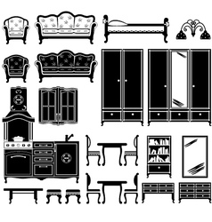 Black icons of furniture vector