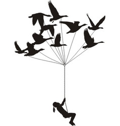 Flying girl with wild geese vector