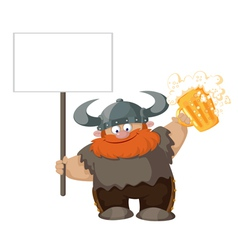 Viking with blank sign and beer vector