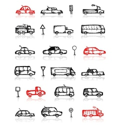 Set of cars sketch and traffic signs for your vector