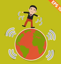 Cartoon businessman stand with earthquake - vector