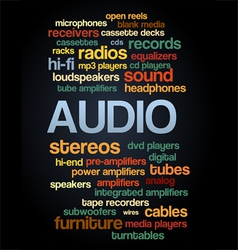 Audio stereo word cloud bubble tag tree text vector