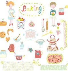 Baking design elements - cute and funny vector