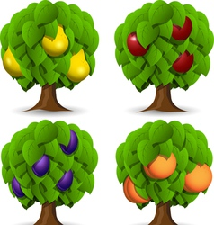 Fruit trees vector