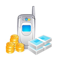 Icon mobile phone and cash vector