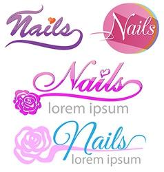 Nails saloon symbol set vector