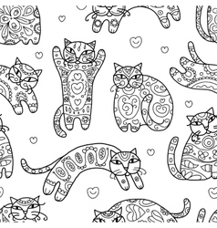 Art cats with floral ornament seamless pattern vector