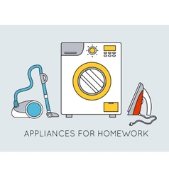 Flat household appliances background concept vector