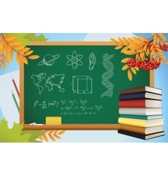 School autumn background with symbols on vector