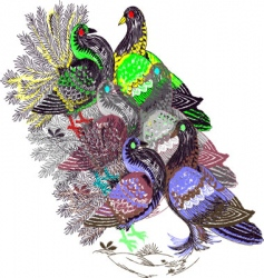 Embroidery pigeon vector