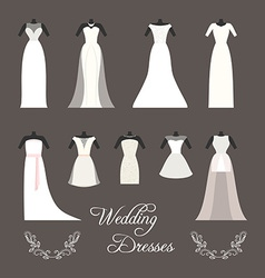 Set of wedding dresses isolated vector