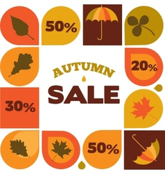 Autumn sale with seasonal icons and discount vector