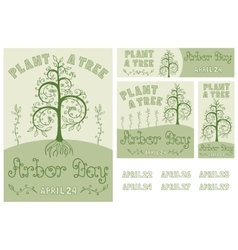 Arbor day set of hand drawn poster and banners vector
