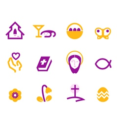 Easter and christianity icons vector