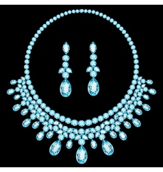 Blue necklace women for marriage with precious sto vector
