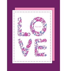 Vibrant field flowers love text frame pattern vector