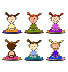 Cartoon happy kids meditation vector