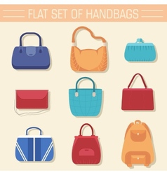 Fashion handbags and bags in flat vector
